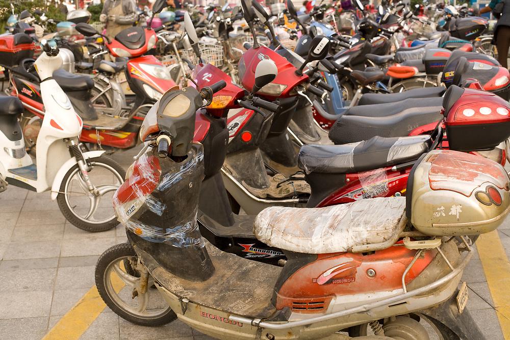 Suzhou, Jiangsu province, China, Asia - Motorcycle parking zone at Suzhou.