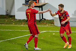 LEUVEN, BELGIUM - Sunday, November 15, 2020: Belgium's Dries Mertens (R) celebrates after scoring the second goal with team-mate Kevin De Bruyne during the UEFA Nations League Group Stage League A Group 2 match between England and Belgium at Den Dreef. (Pic by Jeroen Meuwsen/Orange Pictures via Propaganda)