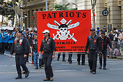 Patriots veterans motorcycle club march during Brisbane ANZAC day 2014 parade <br /> <br /> Editions:- Open Edition Print / Stock Image