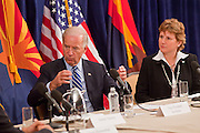 16 NOVEMBER 2009 -- PHOENIX, AZ:  VP Joe Biden (CQ) LEFT, talks with Jane Morris (CQ) Assistant Aviation Director, Phoenix Sky Harbor International Airport (LEFT) and others, about the taxi way improvement project, which was funded with stimulus monies. Vice President Joe Biden was at Sky Harbor International Airport Monday morning to participate in a round table discussion the Obama administration's economic stimulus program.      Photo by Jack Kurtz
