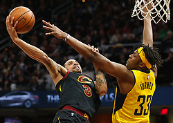 April 29, 2018 - Cleveland, OH, USA - Cleveland Cavaliers guard George Hill puts the ball up against Indiana Pacers center Myles Turner in the fourth quarter of Game 7 of the Eastern Conference First Round series on Sunday, April 29, 2018 at Quicken Loans Arena in Cleveland, Ohio. The Cavs won the game, 105-101. (Credit Image: © Leah Klafczynski/TNS via ZUMA Wire)