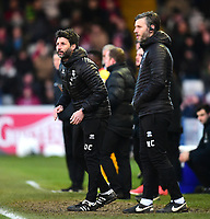 Lincoln City manager Danny Cowley, left, and Lincoln City's assistant manager Nicky Cowley shouts instructions to their team from the technical area<br /> <br /> Photographer Andrew Vaughan/CameraSport<br /> <br /> The EFL Sky Bet League Two - Lincoln City v Northampton Town - Saturday 9th February 2019 - Sincil Bank - Lincoln<br /> <br /> World Copyright © 2019 CameraSport. All rights reserved. 43 Linden Ave. Countesthorpe. Leicester. England. LE8 5PG - Tel: +44 (0) 116 277 4147 - admin@camerasport.com - www.camerasport.com