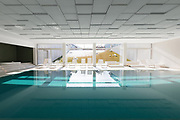Covered swimming pool in a private residence overlooking the garden. nobody inside
