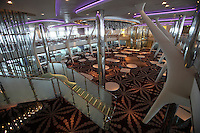 Celebrity Equinox, a brand new cruise ship belonging to Celebrity Cruises, during her river conveyance down the River Emms from the shipyard where she was built to the open sea..Onboard feature photos. (ship unfinished).Silhouette dining room.