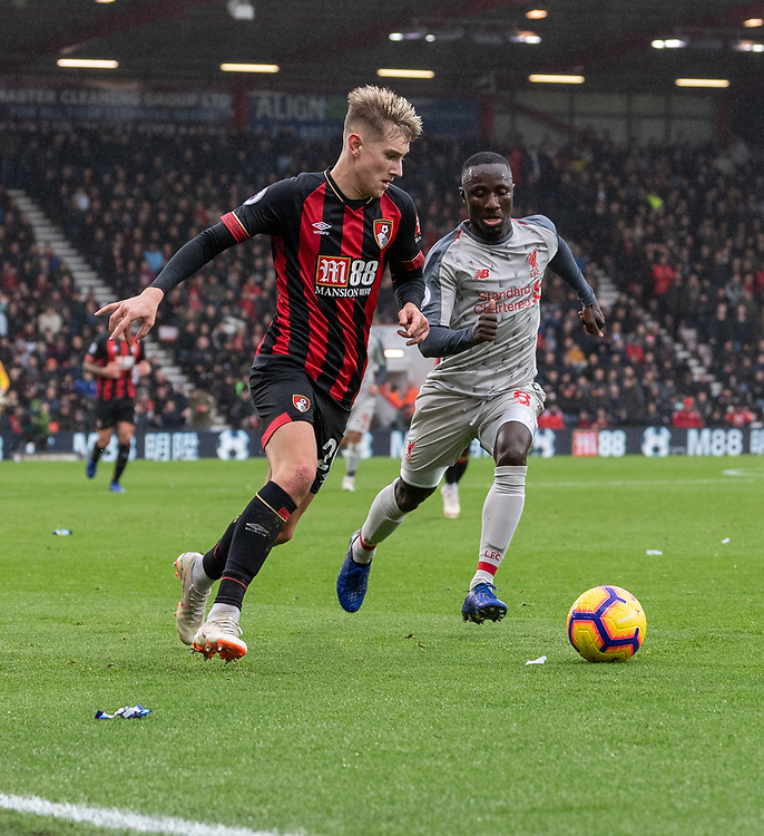 Bournemouth's David Brooks (left) under pressure from Liverpool's Naby Keita (right) <br /> <br /> Photographer David Horton/CameraSport<br /> <br /> The Premier League - Bournemouth v Liverpool - Saturday 8th December 2018 - Vitality Stadium - Bournemouth<br /> <br /> World Copyright © 2018 CameraSport. All rights reserved. 43 Linden Ave. Countesthorpe. Leicester. England. LE8 5PG - Tel: +44 (0) 116 277 4147 - admin@camerasport.com - www.camerasport.com