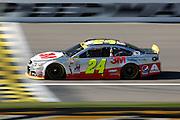 NASCAR Sprint Cup Series auto racing driver Jeff Gordon takes a practice lap at Kansas Speedway in Kansas City, Kan., Saturday, Oct. 17, 2015. (AP Photo/Colin E. Braley)