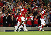 Photo: Chris Ratcliffe.<br /> Arsenal v FC Porto. UEFA Champions League, Group G. 26/09/2006.<br /> Thierry Henry of Arsenal celebrates scoring the first goal.