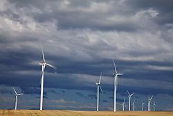 Windmills, wind farm, thunderstorm, Idaho Falls, Idaho
