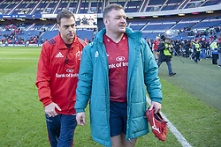 March 30, 2019 - Edinburgh, Scotland, United Kingdom - Munster Head Coach Johann van Graan and Dave Kilcoyne of Munster celebrate during the Heineken Champions Cup Quarter Final match between Edinburgh Rugby and Munster Rugby at Murrayfield Stadium in Edinburgh, Scotland, United Kingdom on March 30, 2019  (Credit Image: © Andrew Surma/NurPhoto via ZUMA Press)