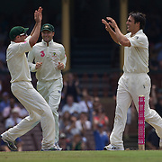 Mitchell Johnson (right) celebrates the wicket of Salman Butt during the Australia V Pakistan 2nd Cricket Test match at the Sydney Cricket Ground, Sydney, Australia, 6 January 2010. Photo Tim Clayton