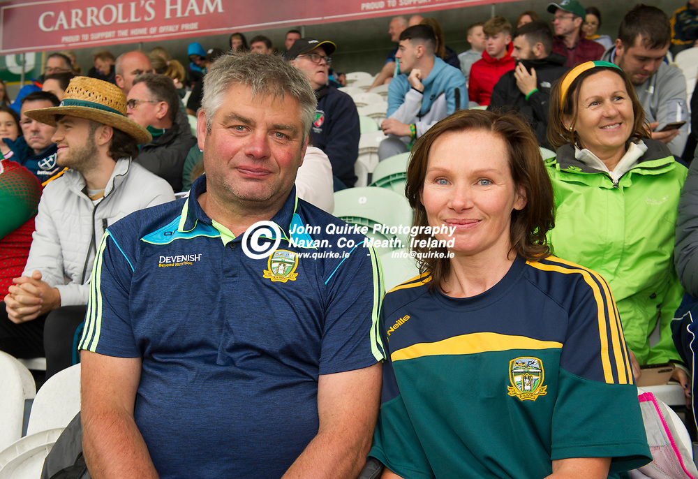 02-08-21. Meath v Dublin - Leinster MFC Final at O'Connor Park, Tullamore.<br /> Patrick and Sallie Martyn from Slane were in Tullamore  supporting the Meath Minor Footballers.<br /> Photo: John Quirke / www.quirke.ie<br /> ©John Quirke Photography, 16 Proudstown Road, Navan. Co. Meath. (info@quirke.ie / 046-9028461 / 087-2579454).