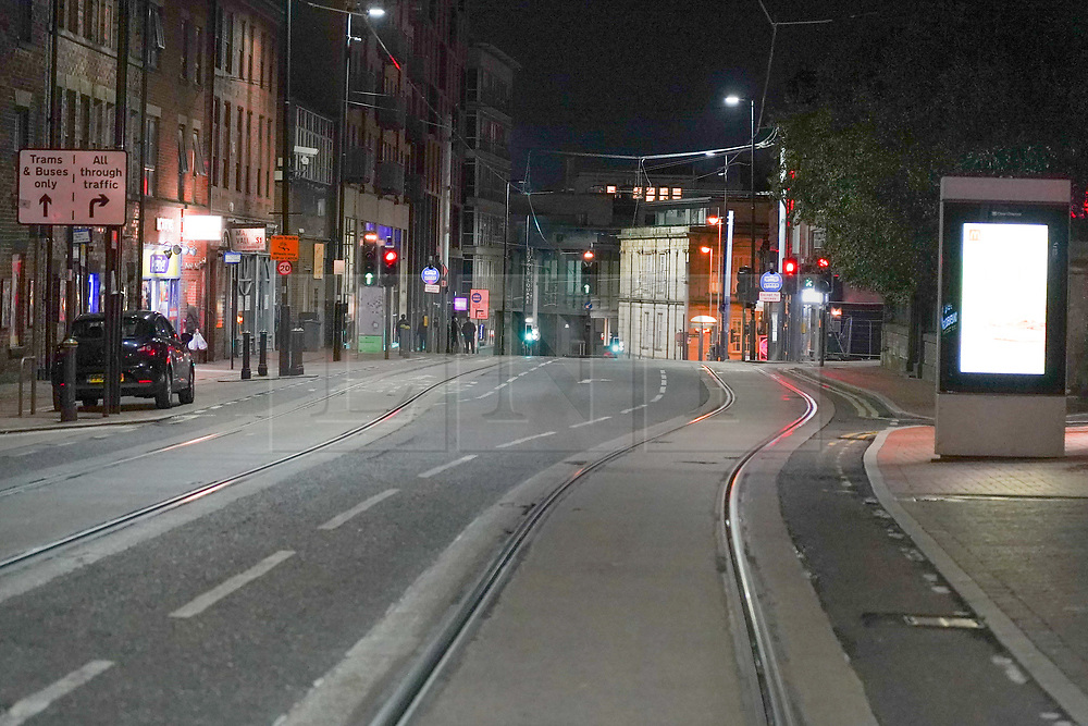 © Licensed to London News Pictures. 06/10/2020. Sheffield, UK.   West Street is seen deserted this evening.  962 students from the University of Sheffield and Sheffield Hallam University have tested positive for coronavirus, following a spike in coronavirus cases. Photo credit: Ioannis Alexopoulos/LNP