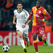 Galatasaray's Emmanuel Eboue (R) and Real Madrid's Angel Di Maria (L) during their UEFA Champions League Quarter-finals, Second leg match Galatasaray between Real Madrid at the TT Arena AliSamiYen Spor Kompleksi in Istanbul, Turkey on Tuesday 09 April 2013. Photo by Aykut AKICI/TURKPIX