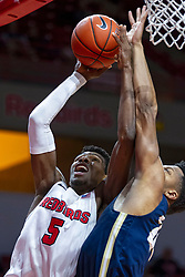 NORMAL, IL - November 29: Keith Fisher III takes a two hander to the glass while covered tightly by a defender during a college basketball game between the ISU Redbirds and the Prairie Stars of University of Illinois Springfield (UIS) on November 29 2019 at Redbird Arena in Normal, IL. (Photo by Alan Look)