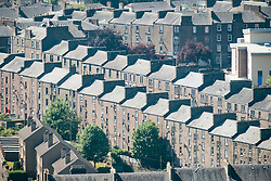 View of old apartment tenement buildings in city of Dundee, Tayside, Scotland, UK