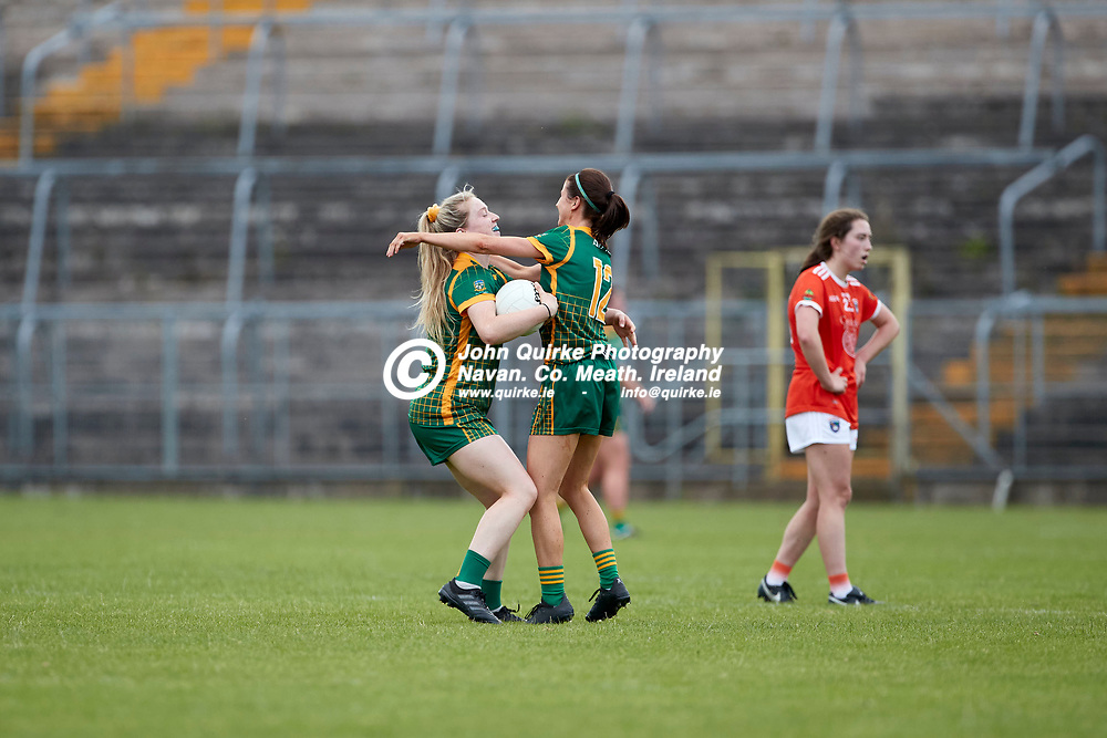 01-08-21, All Ireland Ladies SFC quarterfinal at Clones<br /> Meath v Armagh<br /> Meaths Orlagh Lally and Niamh O`Sullivan celebrate at the final whistle<br /> Photo: David Mullen / www.quirke.ie ©John Quirke Photography, Proudstown Road Navan. Co. Meath. 046-9079044 / 087-2579454.<br /> ISO: 500; Shutter: 1/1250; Aperture: 4.5;
