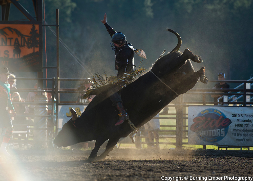 Parker Breding on Red Eye Rodeo Bull Bloody Nose at the Darby MT Elite Proffesionals Bull Riding Event July 7th 2017.  Photo by Josh Homer/Burning Ember Photography.  Photo credit must be given on all uses.