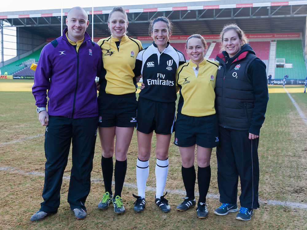 The Officials for the match including Sara Cox, Alhambra Nievas, Nikki O'Donnell and Mel Liley. England Women v Italy Women in Women's 6 Nations Match at Twickenham Stoop, Twickenham, England, on 15th February 2015. Final score 39-7.