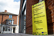 A public information notice regarding the spread of Covid-19 is pictured on 14th July 2021 in Wokingham, United Kingdom. The leader of Wokingham Borough Council, John Halsall, has urged local residents to do all they can to avoid spreading the coronavirus as Covid-19 rates per 100,000 rise in the borough in advance of the planned lifting of national lockdown restrictions on 19th July.