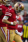San Francisco 49ers quarterback C.J. Beathard (3) reacts after throwing the ball off his teammate during the final minutes of gameplay against the Arizona Cardinals at Levi's Stadium in Santa Clara, Calif., on November 5, 2017. (Stan Olszewski/Special to S.F. Examiner)