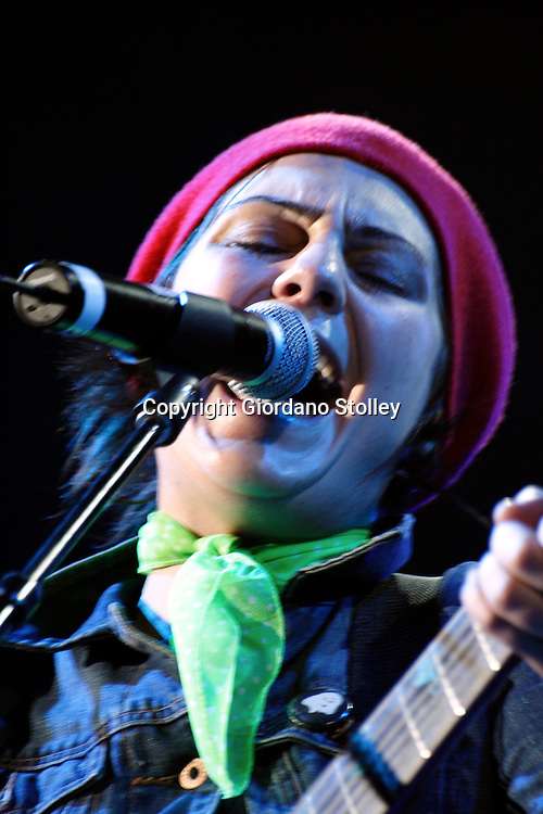 DURBAN - 10 April 2006 - Treana Morris, the lead vocalist of the British band Wire Daisies performs at Durban's Kings Park Stadium, where the band were the first support act for Robbie Williams on his Close Encounters Tour. The band was the support act in Durban, Cape Town and Pretoria. Picture: Giordano Stolley
