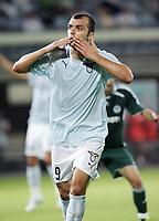 """Esultanza di Goran Pandev dopo il gol (Lazio)<br /> <br /> Friendly match<br /> <br /> 8 Aug 2007 <br /> <br /> Lazio-Panathinaikos (2-1) <br /> <br /> """"Flaminio"""" Stadium-Roma-Italy <br /> <br /> Photographer Antonietta Baldassarre INSIDE"""