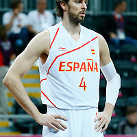 06 August 2012: Spain Pau Gasol rests during the 88-82 Team Brazil victory over Team Spain, during the men's basketball preliminary, at the Basketball Arena, in London, Great Britain.