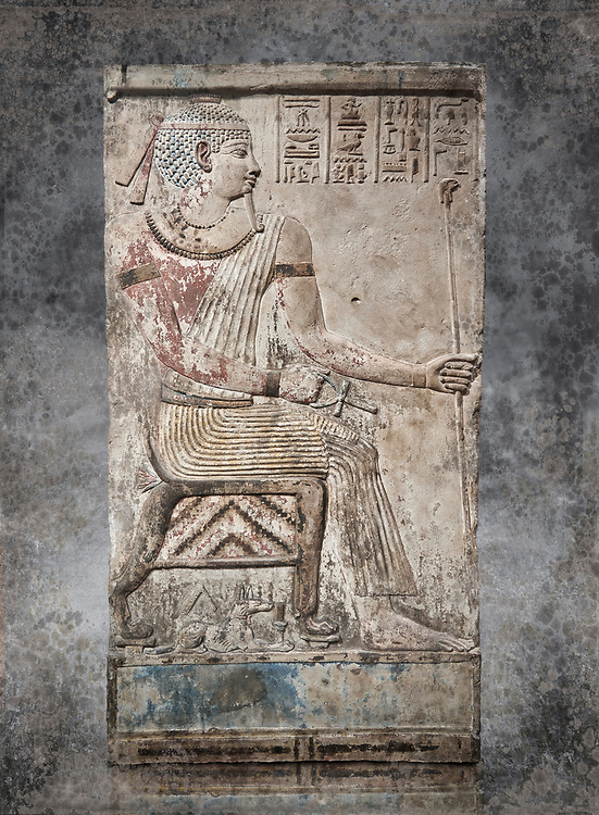 Ancient Egyptian stele of Piamon who drowned in the Nile and was deified like Osiris, Ptlomemaic Period (332-30 BC),  Egyptian Museum, Turin. White background,, Old Fund cat 1556.