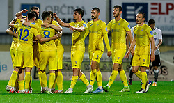Players of Domzale celebrate after scoring first goal during football match between NK Domzale and NK Koper in 34th Round of Prva liga Telekom Slovenije 2020/21, on May 16, 2021 in Sports park Domzale, Domzale, Slovenia. Photo by Vid Ponikvar / Sportida