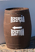 barrel with sign to reception j portugal ramos vinhos alentejo portugal