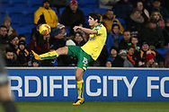 Timm Klose of Norwich city  in action. EFL Skybet championship match, Cardiff city v Norwich city at the Cardiff city stadium in Cardiff, South Wales on Friday 1st December 2017.<br /> pic by Andrew Orchard, Andrew Orchard sports photography.