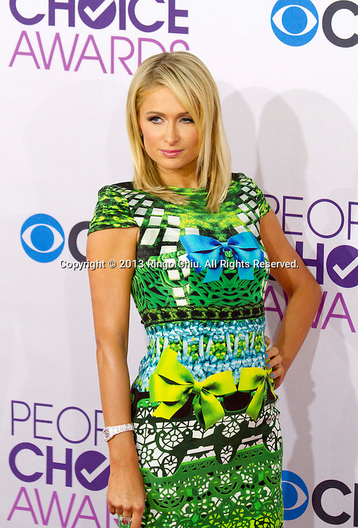 Paris Hilton arrives at the 39th Annual People's Choice Awards at Nokia Theatre L.A. Live on Wednesday January 9, 2013 in Los Angeles, California, United States. (Photo by Ringo Chiu/PHOTOFORMULA.com)