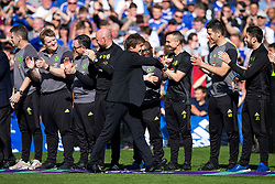 Chelsea manager Antonio Conte walks out to collect his winners medal as Chelsea celebrate winning the 2016/17 Premier League - Rogan Thomson/JMP - 21/05/2017 - FOOTBALL - Stamford Bridge - London, England - Chelsea v Sunderland - Premier League..
