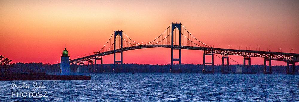 Goat Island and Newport Bridge Sunset
