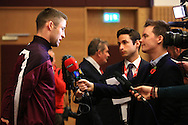 Gary Cahill answers questions during a press conference - England Training & Press Conference - UEFA Euro 2016 Qualifying - St George's Park - Burton-upon-Trent - 11/11/2014 Pic Philip Oldham/Sportimage<br /> *Embargoed until Tuesday 11/11/14 10.30pm*