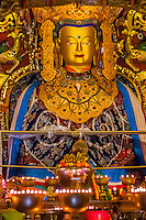 Statue of Buddha, Samye Monastery, Chatang, Lhoka (Shannan) Prefecture, Tibet (Xizang), China. Samye is the first Buddhist monastery built in Tibet.