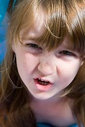 Portrait of a girl talking,