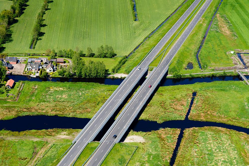 Nederland, Friesland, Centrale As, 07-05-2018; provinciale weg 356 (N356), Sintrale As of de Centrale As, tussen Nijega en Dokkum.<br /> Lokatie ter hoogte van De Westereen; De Falom, fly-over over vaart en ecologische verbinding.<br /> New local motorway Friesland<br /> luchtfoto (toeslag op standaard tarieven);<br /> aerial photo (additional fee required);<br /> copyright foto/photo Siebe Swart