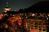 Kiyomizu-dera Temple at Night - Kiyomizu-dera is a Buddhist temple in Kyoto, a major attraction to the city and a UNESCO World Heritage site.  Not one nail was used in building the entire temple.  It takes its name from the waterfall in the hills nearby, the water itself being sacred -  In Japanese Kiyomizu means clear water or pure water.