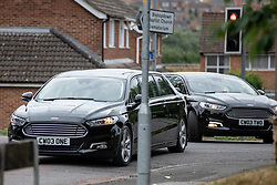 © Licensed to London News Pictures. 30/07/2018. Salisbury, UK. The cortege arrives at Salisbury Crematorium before the funeral of Dawn Sturgess, who died on 8 July 2018 after exposure to the nerve agent Novichok. Special safety measures have been put in place to protect mourners attending the ceremony. Photo credit: Rob Pinney/LNP