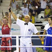 2. WOMEN'S WORLD BOXING CHAMPIONSHIPS.<br /> Norway's Kitel Henrite winner. Kitel Henrite (L) with Hungary's Szuknai Zsussanna (R) Dilek Sabanci Sport Hall Antalya/Turkey<br /> Photo by Aykut AKICI/TurkSporFoto
