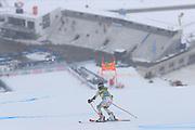SOELDEN, AUSTRIA. OCTOBER 17 2020:  1st Women's Giant Slalom as part of the Alpine Ski World Cup in Solden on October 17, 2020; Run 1, Kristina Riis-Johannessen (NOR) in front of an empty tribune ( Pierre Teyssot/ESPA Images-Image of Sport)