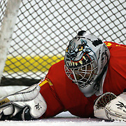 Crouching Tiger Hidden Puck…Chinese keeper Xai Shengrong, wearing his cat helmet, lays on the ice after conceding a goal during the China V Iceland match which Iceland won 5-1 during the 2012 IIHF Ice Hockey World Championships Division 3 held at Dunedin Ice Stadium. Dunedin, Otago, New Zealand despite conceding five goal  Xai Shengrong was named keeper of the tournament . 22nd January 2012. Photo Tim Clayton
