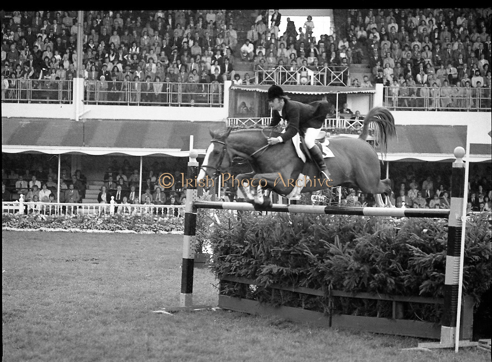Aga Khan Trophy..1979..10.08.1979..08.10.1979..10th August 1979..The annual staging of the Aga Khan Cup took place  at the Royal Dublin Showgrounds, Ballsbridge,Dublin today.It was the first time since 1937 that Ireland won the trophy outright. The winning Irish team comprised of Paul Darragh,Capt Con Power,James Kernan and Eddie Macken..Action of a member of the French team showing pure determination in order to clear this fence.