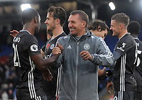 Football - 2019 / 2020 Premier League - Crystal Palace vs. Leicester City<br /> <br /> Leicester city Manager, Brendan Rodgers celebrates with Ricardo Pereira at Selhurst Park.<br /> <br /> COLORSPORT/ANDREW COWIE