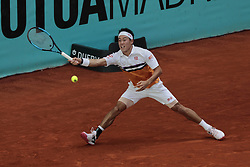 May 9, 2019 - Madrid, Madrid, Spain - Kei Nishikori seen in action during the Mutua Madrid Open Masters match on day 7 at Caja Magica in Madrid. (Credit Image: © Legan P. Mace/SOPA Images via ZUMA Wire)