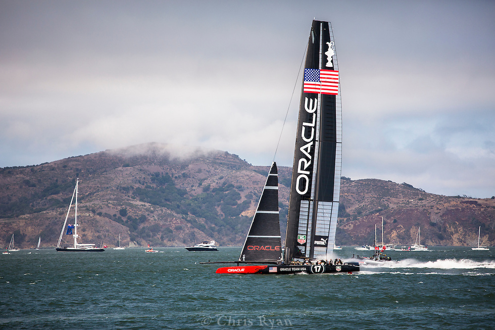 Team USA (Oracle) racing in the 34th America's Cup (2013), San Francisco Bay