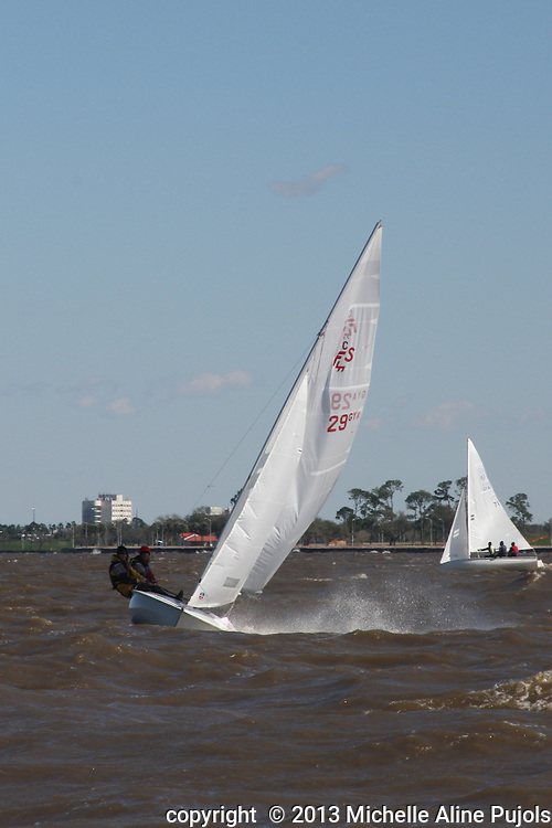 Sail boats racing on Lake Pontchartrain, New Orleans, Louisiana.