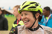 Ester Suss of team Meerendal shows her delight after winning stage 1 of the 2014 Absa Cape Epic Mountain Bike stage race held from Arabella Wines in Robertson, South Africa on the 24 March 2014<br /> <br /> Photo by Greg Beadle/Cape Epic/SPORTZPICS
