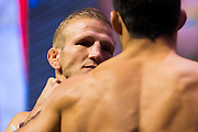 LAS VEGAS, NV - JULY 8:  T.J. Dillashaw faces off with Raphael Assuncao during the UFC 200 weigh-ins at T-Mobile Arena on July 8, 2016 in Las Vegas, Nevada. (Photo by Cooper Neill/Zuffa LLC/Zuffa LLC via Getty Images) *** Local Caption *** T.J. Dillashaw